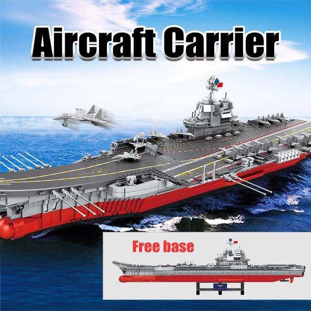 SEMBO 3010PCS WW2 Warship Cruiser Building Blocks Military City Police LED Lights Aircraft Carriers Bricks Toys for Boys