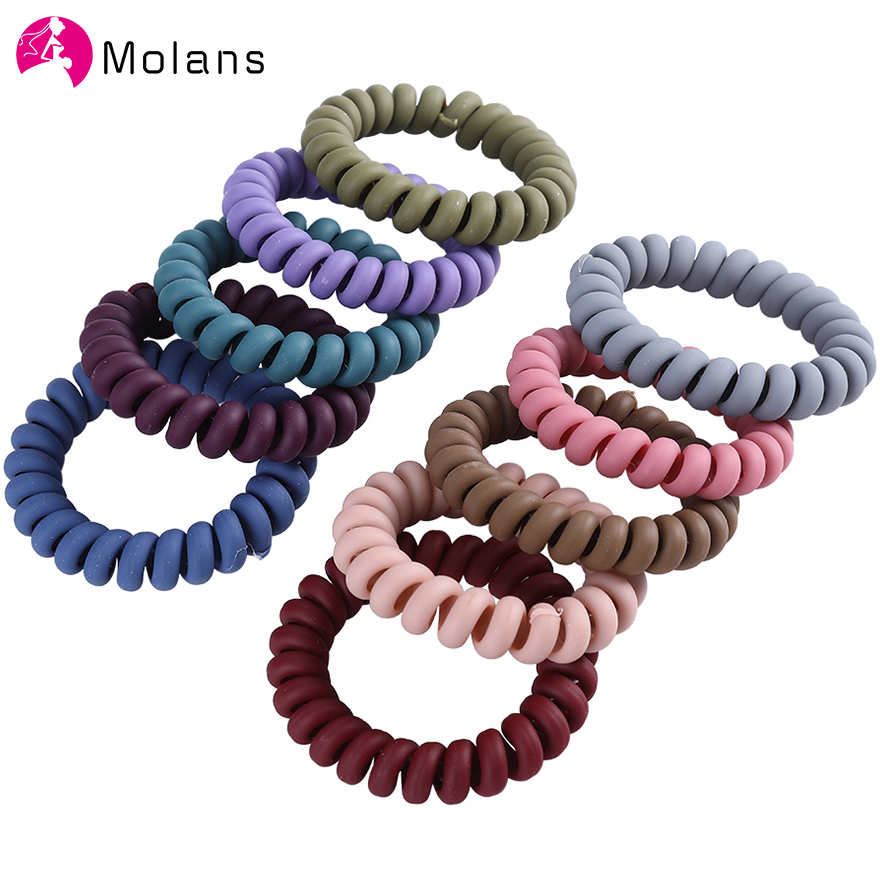 5/10PCS Frosted Colored Telephone Wire Elastic Hair Bands For Girls Headwear Ponytail Holder Rubber Bands Women Hair Accessories