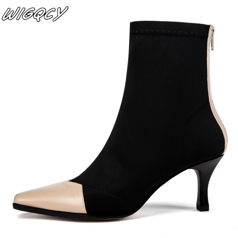 2019winter new women's stiletto high heel boots solid color pointed shallow mouth suede snow boots Microfiber party work boots
