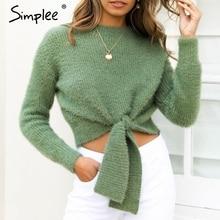Simplee elegancki moherowy damski sweter z dzianiny sweter z przodu muszka sweter damski sweter O-neck jesienne zimowe damskie kombinezony