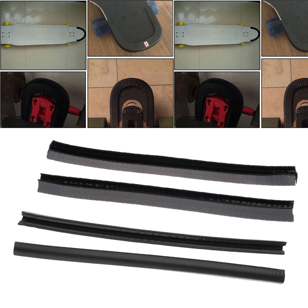 4 Pieces Skateboard Longboard Nose Tail Guard Protection Rubber Strip