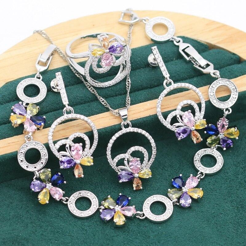 Plant Multi Color Zircon 925 Silver Jewelry Sets For Women Bracelet Earrings Necklace pendant Ring Gift