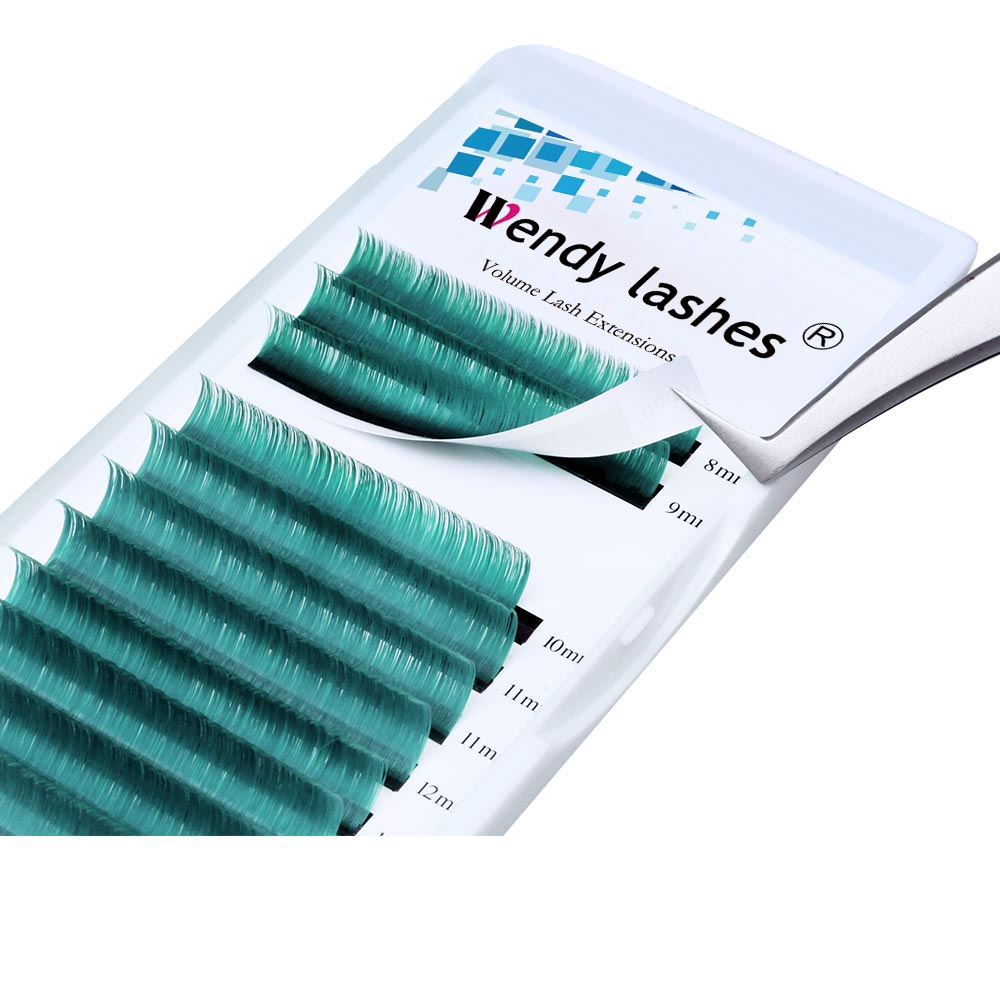 Green Eyelahses Easy Fanning Eyelash Extensions 0.07mm D Curl High Quality Synthetic Hair 8-14mm Mix Eye Lash Extension Supplies