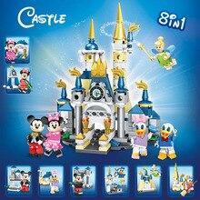 Игровой набор замок Микки Минни мышей Дональд Дак Дейзи Тинкер Белл мини игрушка фигурка строительный блок кирпич совместим с lego