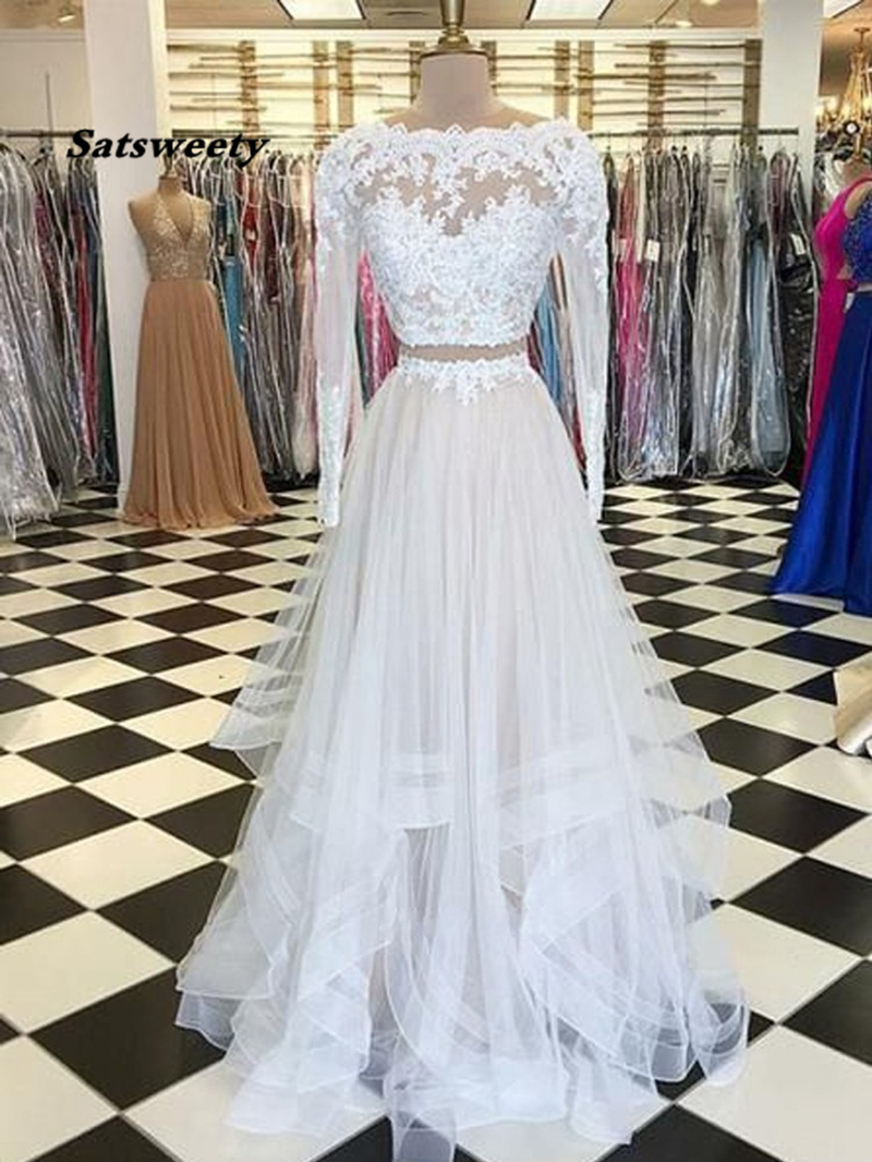 White 2020   Prom     Dresses   A-Line Tulle Appliques Lace Long Sleeves   Prom   Gown Two Pieces Evening Party   Dress   Robe De Soiree
