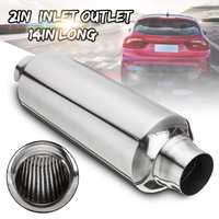 Universal Car Exhaust Muffler Pipe Resonator 51mm Inlet/Outlet Exhaust Tip Tube Stainless Steel