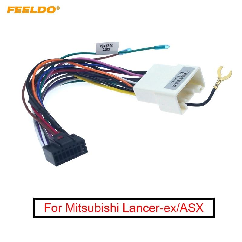 FEELDO 1Pc Car Sterei Radio 16PIN Adaptor Wiring Harness For Mitsubishi Lancer-ex ASX Power Calbe Wire Head Unit Harness