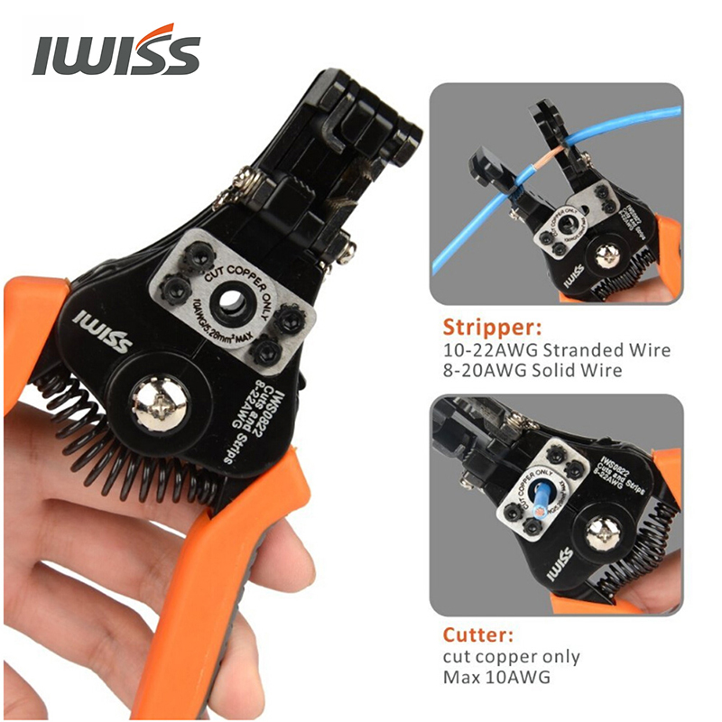 Tools : IWISS  IWS-0822  multifunctional  Automatic Cable Wire Stripper 0 35-8 2mm     Stripping Crimper Crimping Plier Cable Cutter Tool