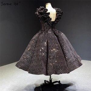 Image 5 - Schwarz Gold V ausschnitt Luxus Abendkleider 2020 Ärmellose Pailletten Sparkle Tee Länge Formale Kleid Ruhigen Hill HA2306