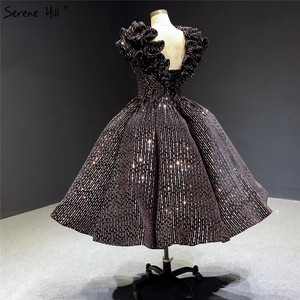 Image 5 - שחור זהב V צוואר יוקרה ערב שמלות 2020 שרוולים נצנצים Sparkle תה אורך פורמליות שמלת Serene היל HA2306