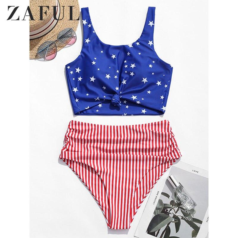 ZAFUL Bikini American Flag Tied Plunging Tankini Women Beach Swimwear Push Up High Waisted Bikini Padded Ruffles Swimsuit 2019