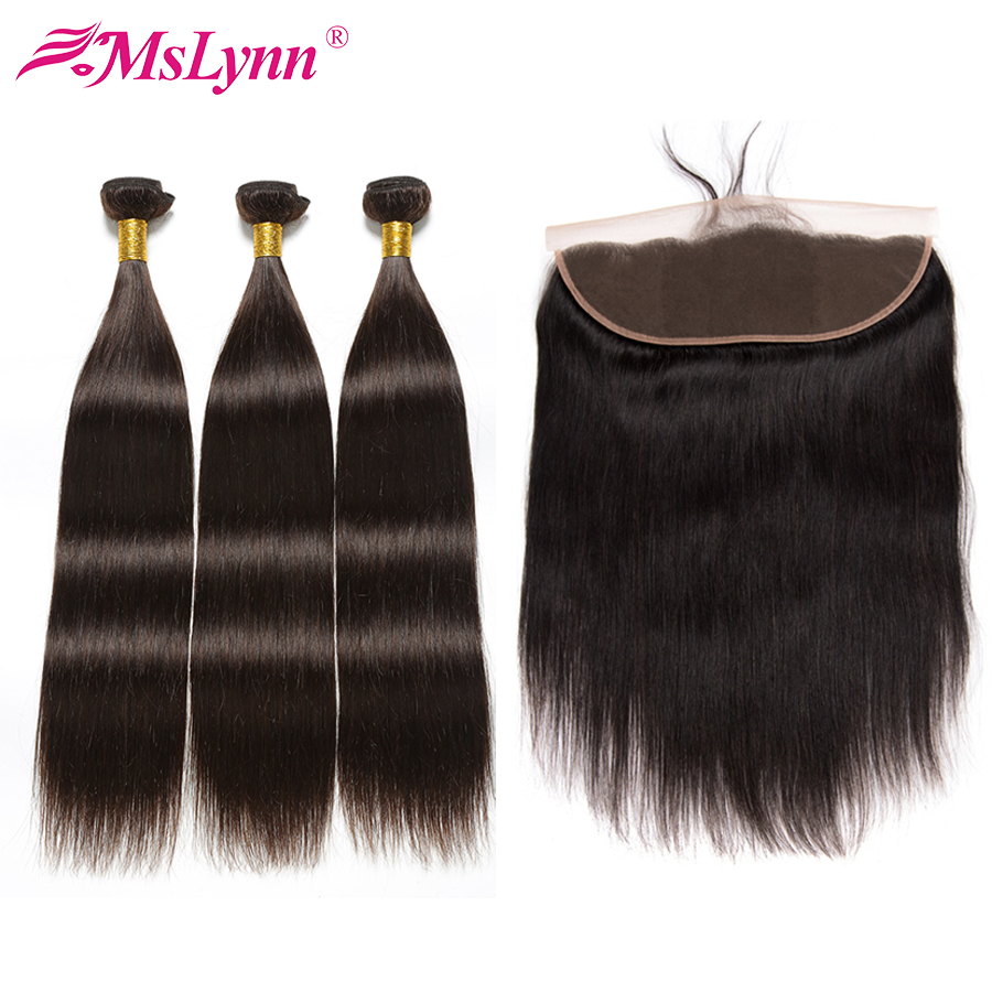 Straight Hair Bundles With Frontal Brazilian Hair Weave Bundles Frontal With Bundles Human Hair Bundles With Closure Non Remy-in 3/4 Bundles with Closure from Hair Extensions & Wigs    1