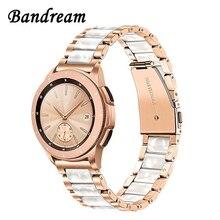 Paslanmaz çelik ve reçine Watch band 20mm Samsung Galaxy Watch 42mm/aktif 40mm/S2 klasik hızlı serbest bırakma bandı gül altın kayış
