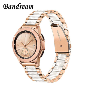 Image 1 - Stainless Steel & Resin Watchband 20mm for Samsung Galaxy Watch 42mm/Active 40mm/S2 Classic Quick Release Band Rose Gold Strap