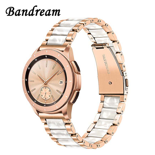 Stainless Steel & Resin Watchband 20mm for Samsung Galaxy Watch 42mm/Active 40mm/S2 Classic Quick Release Band Rose Gold Strap