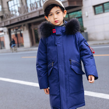 Russion 2019 Boys Winter Duck Down feather Children Thickening Warm Jackets long Big Fur Hooded Outerwear Coats Kids