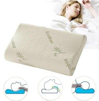 Almohadas ortopédicas de espuma viscoelástica de bambú para dormir, cojín Travesseiro Almohada...