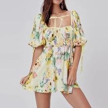 women Bohemian floral mini dress puff sleeve pleated stretchy waist summer ladie