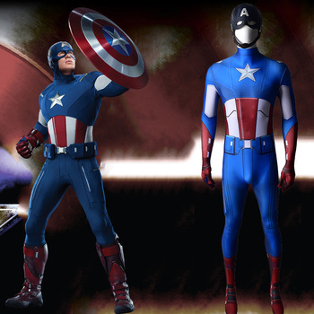 Captain America:The First Avenger Cosplay Costume Steve Rogers Halloween Set Outfit Adult kids Superhero Zentai body 1