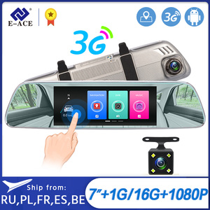 Image 1 - E ACE 3G Car Dvrs 7 Inch Touch Rearview Mirror Cameras Android 5.0 GPS Bluetooth Handfree WIFI FHD 1080P 16G Video Recorder