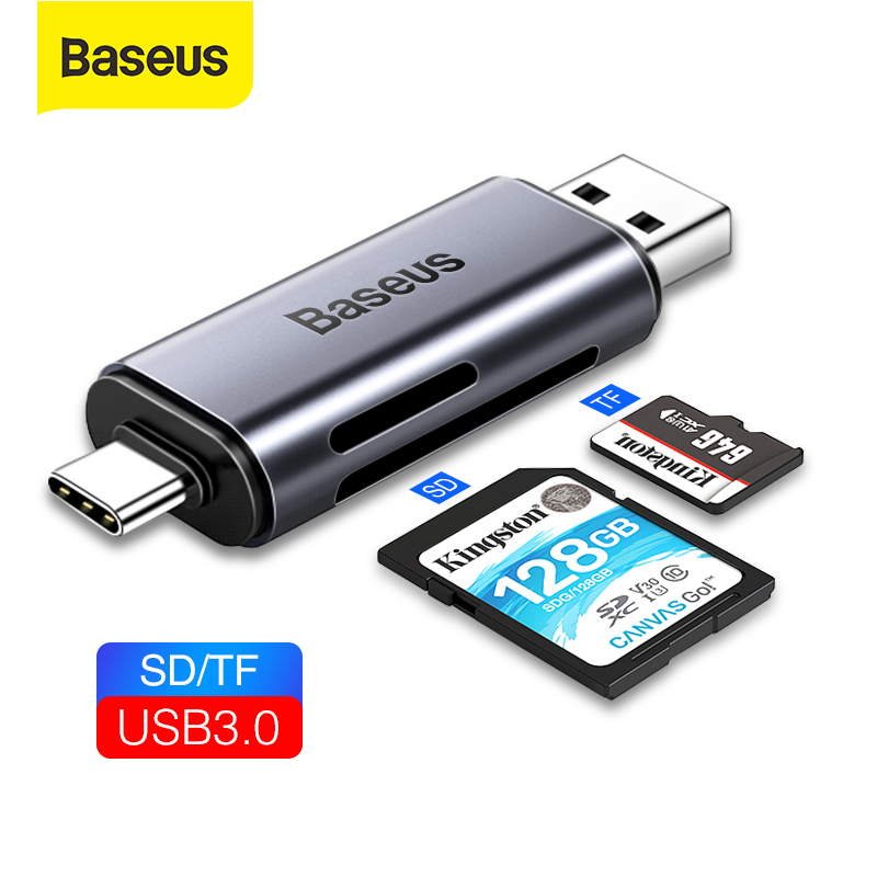 Baseus USB Card Reader 2 In 1 SD TF Card USB 3.0 External Memory USB Type C Card Readers Adapter For Coputer Laptop Mobile Phone