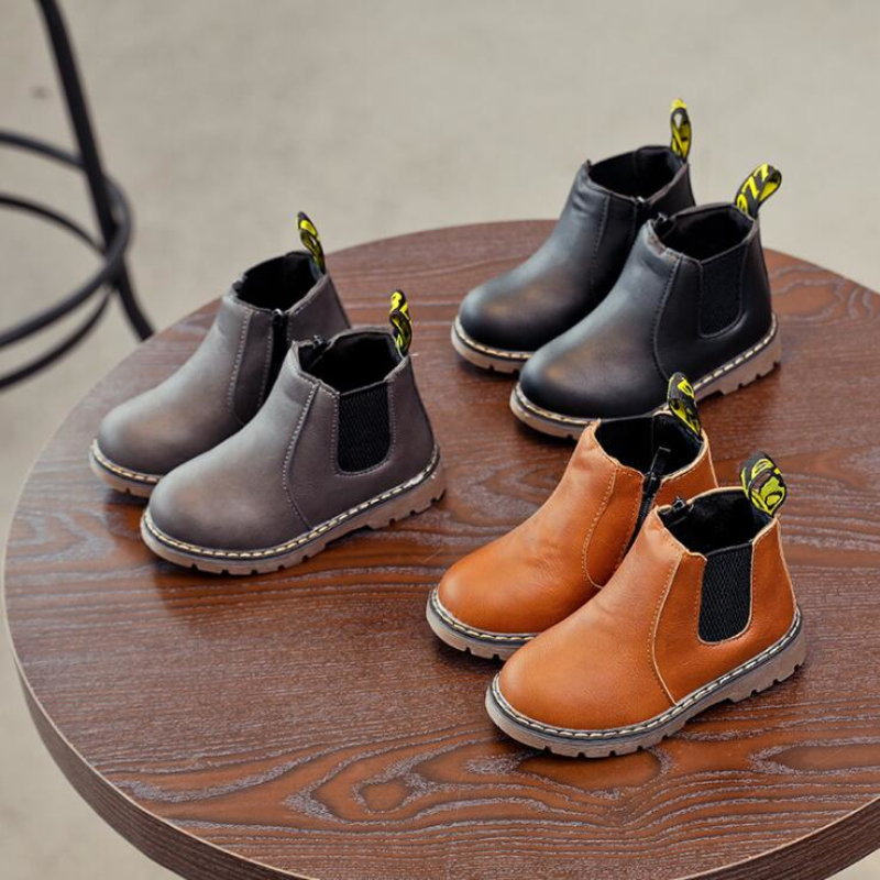 New 2019 Spring Kids Leather Chelsea Boots Waterproof Children Sneakers Gray Black Boots For Baby Girl Boots Boy Shoes