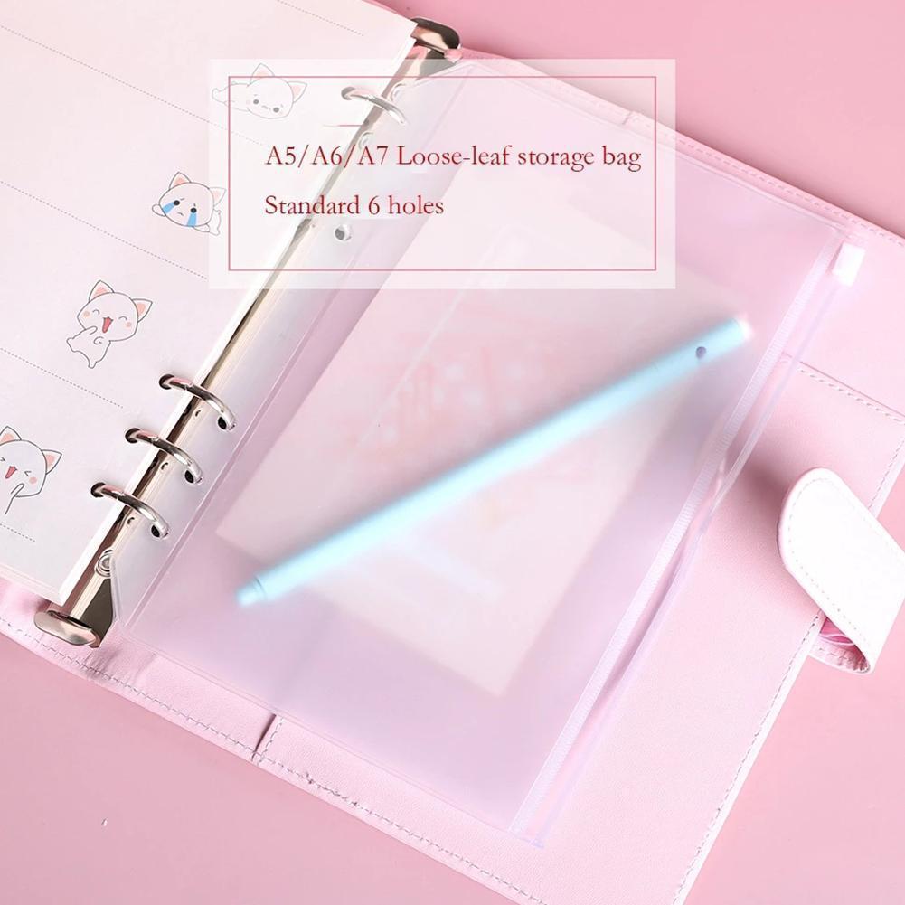 1 Pc 6 Hole Loose-leaf Folder Business Card Bag Loose-leaf Notebook Zipper Bag Children Book  Folder Learning Office Supplies