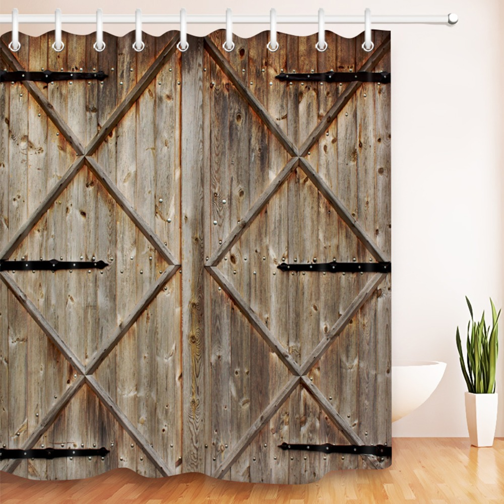 rustic wood barn door shower curtain
