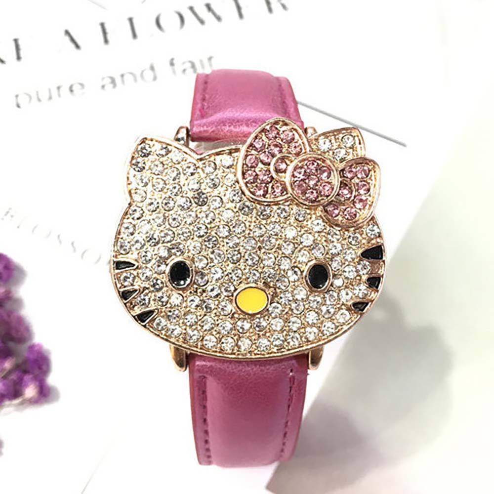 Kt Cat Studded Flip Girl Watch Cartoon Belt Fashion Cute Children's Watch Specializing In The Production Of Children's Watches