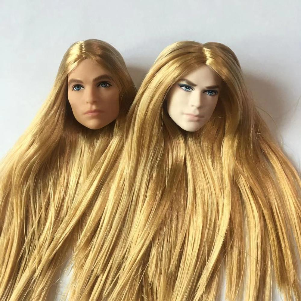 Long Hair Doll Heads Limited CollectionDoll Head Part DIY Dressing Parts Prince Ken Long Hair Man Doll Head White Skin Doll Part