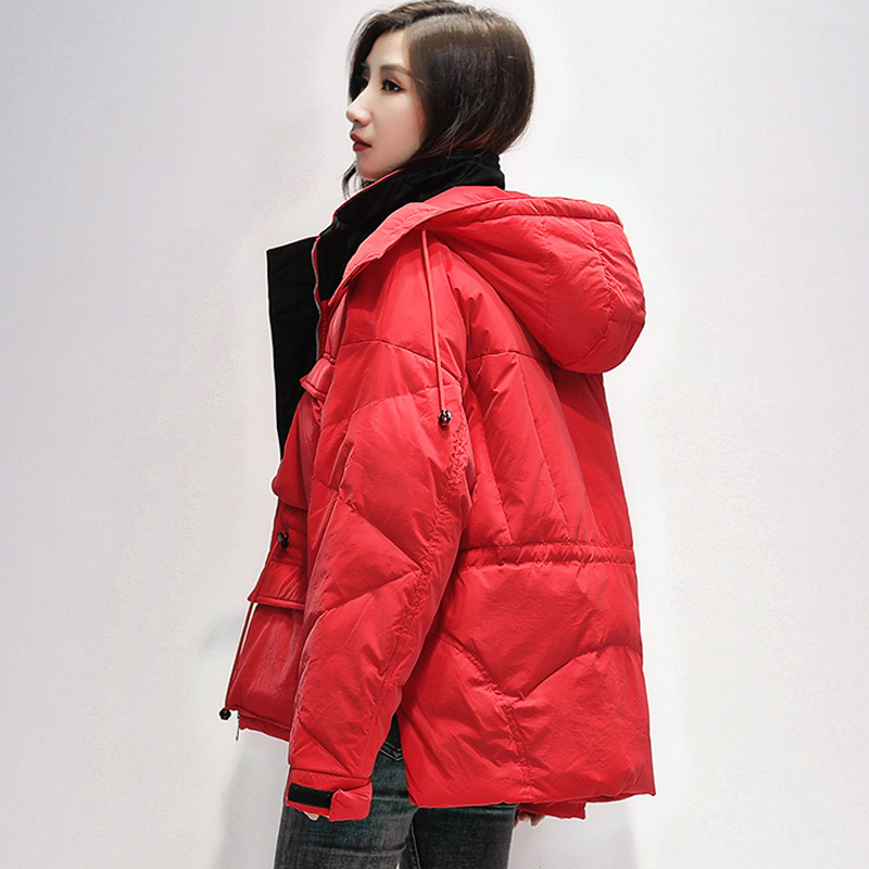 Women Winter Down Jacket Hooded Overcoat 90% White Duck Down Parka Warm Thickness Hat Detachable Sash Tie Up Outerwear