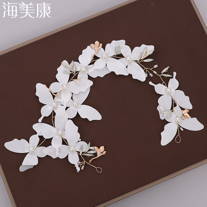 Haimeikang White Butterfly Flowers Crown Hair Band Bride Wedding Headwear Girls Flower Garland Holiday Travel Hair Accessories