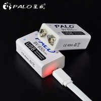 PALO 9V batería USB 650mah recargable micro usb 9V Lipo baterías para micrófono MICRÓFONO INALÁMBRICO guitarra para EQ alarma de humo
