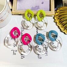 DREJEW Red Green Blue Transparent Geometric Circle Statement Dangle Earrings 2019 Drop for Women Fashion Jewelry HE8751