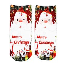 1Pair 3D Digital Floral Printed Christmas Socks Fashion Low Cut Ankle Short for Gifts Present
