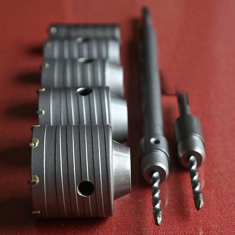 HLZS-7PC/ensemble TCT à pointe marteau électrique scies murales ensemble Kit 30/40/50/60/70Mm avec 1Pc 330Mm & 1Pc 110Mm sds-plus rallonges