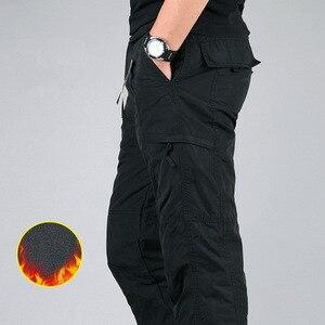 Image 3 - Mens Cargo Pants Winter Thicken Fleece Cargo Pants Men Casual Cotton Military Tactical Baggy Pants Warm Trousers Plus size 3XL