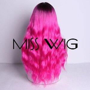 Image 4 - MISS WIG, длинные волнистые парики для черных женщин, афро американские синтетические волосы, серые, коричневые парики с челкой, термостойкий парик