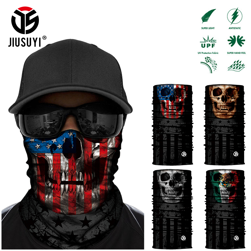 3D Ghost Skull Bandana Neck Gaiter Head Shield Summer Tube Balaclava Scarves Breathable Sun Guard Headband Scarf Bicycle Men
