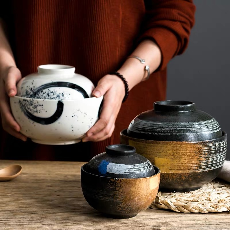 4.5/6.5 Inch Japanese Style Ceramic Dessert Stew Pot Creative Noodle Soup Ramen Bowl Household Rice Bowl With Lid Dinnerware Set