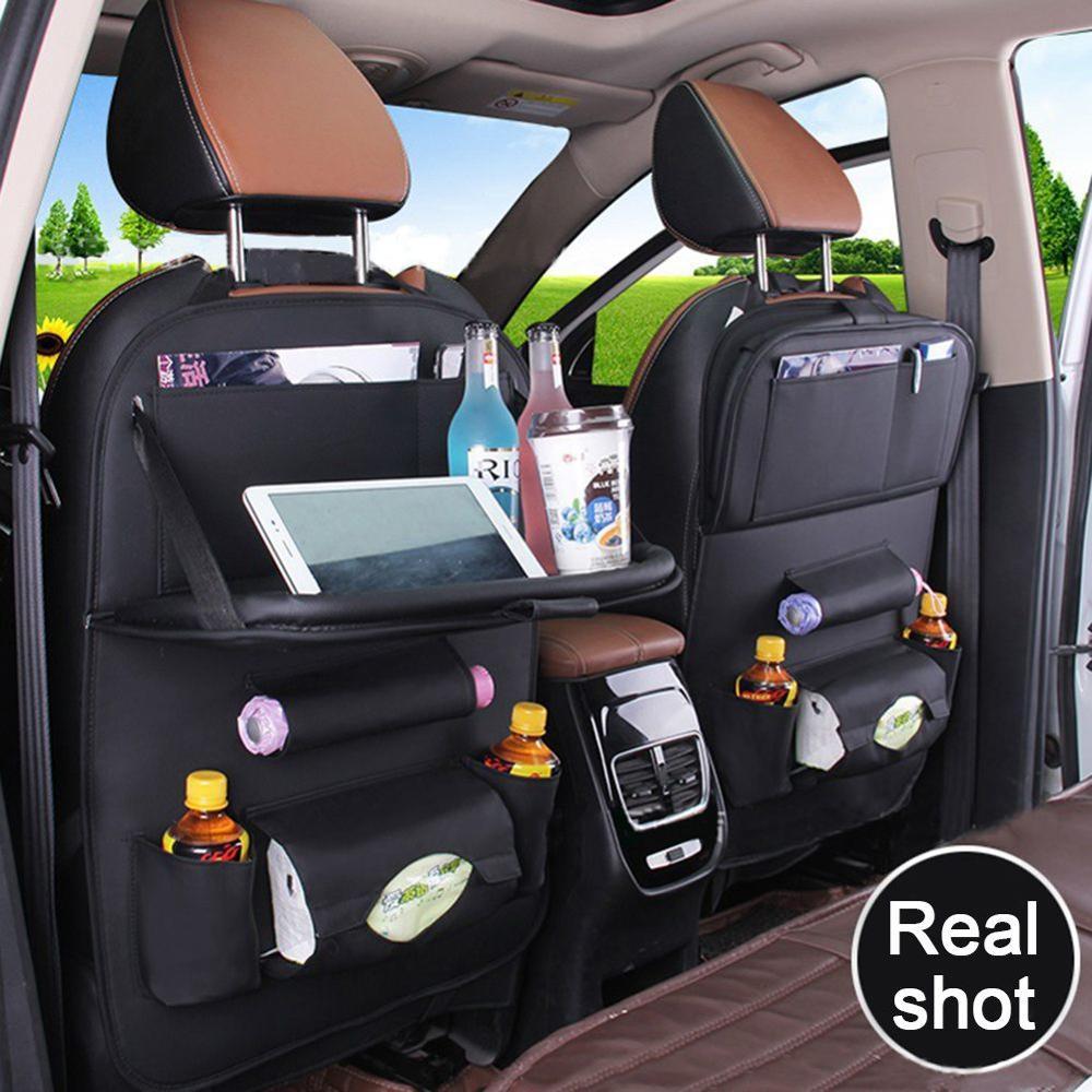 Car Seat Back Bag Organizer Universal Auto Multi-pocket PU Leather Hanging Storage Bag Cups Storage Holder Stowing Tidying Black