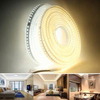 LED Strip Light 220V 2835 Waterproof led strip High Brightness 120LEDs/m Flexible Kitchen Outdoor Garden LED Light With Switch Home & Living