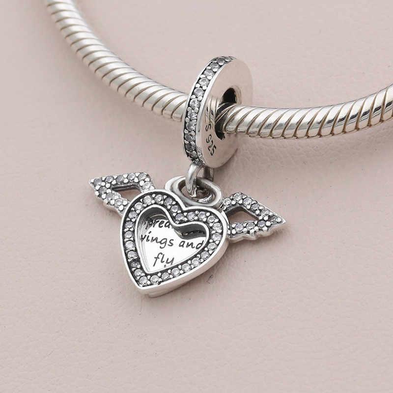 Orijinal 925 ayar gümüş Charm kalp & melek kanatları göz alıcı boncuk Fit kadınlar Pandora bilezik ve kolye DIY takı