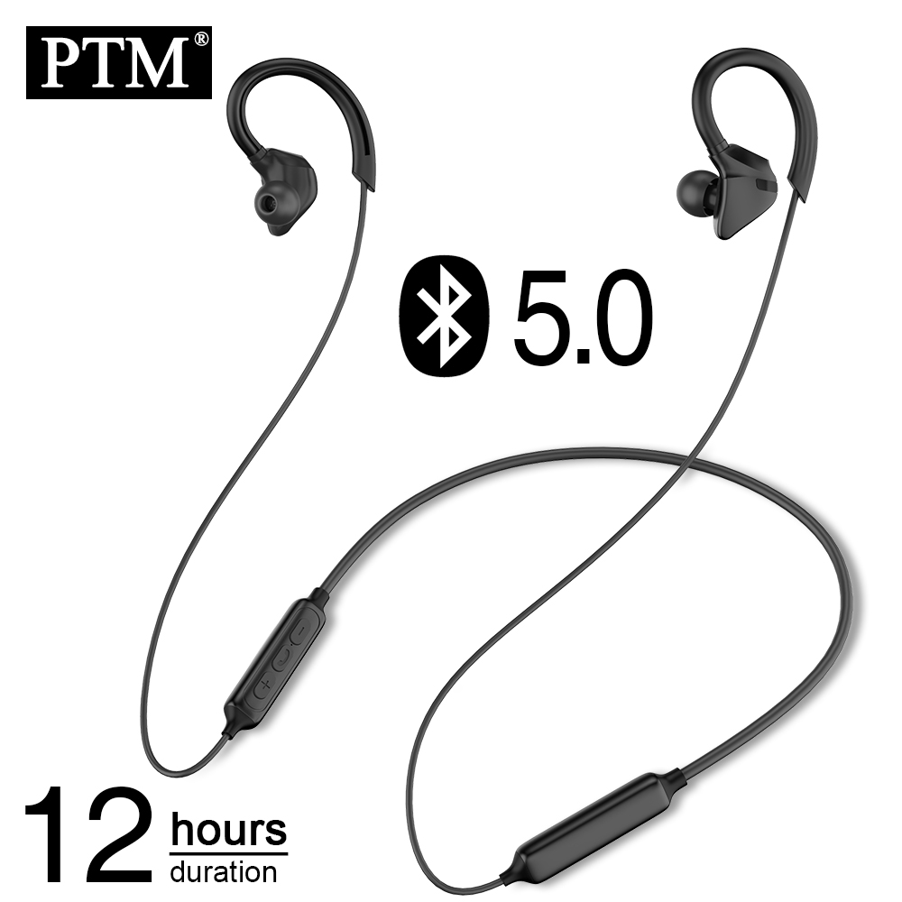 PTM X1 Bluetooth Earphone Neckband Wireless Headphones  Ear Hook Sport Headset With Mic For Phone  Xiaomi IPhone Stereo Earbuds