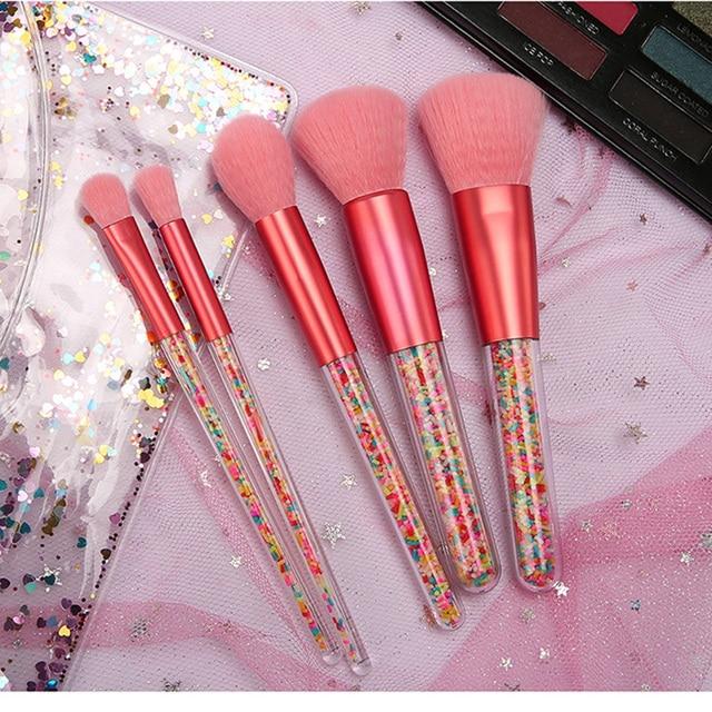 New 5pcs Lollipop Candy Unicorn Crystal Makeup Brushes Set Colorful Lovely Foundation Blending Brush Makeup Tool maquillaje 1