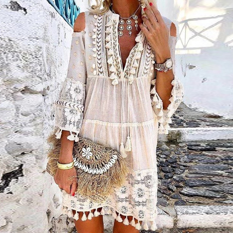 Fashion Hollow Out Off Shoulder Sexy Dress Summer Lace Tassel Cotton Linen Vintage Dress Elegant V-Neck Solid Mini Party Dresses