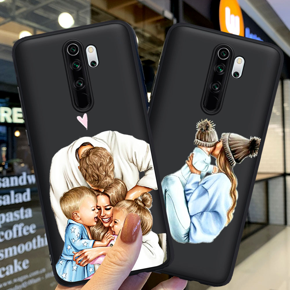 Black Brown Hair Girl Family Baby Mom Soft Phone Case For Coque Xiaomi Redmi Note 5 6 Pro 7 8 8 Pro Mi9t Pro K20 Pro Cover Funda