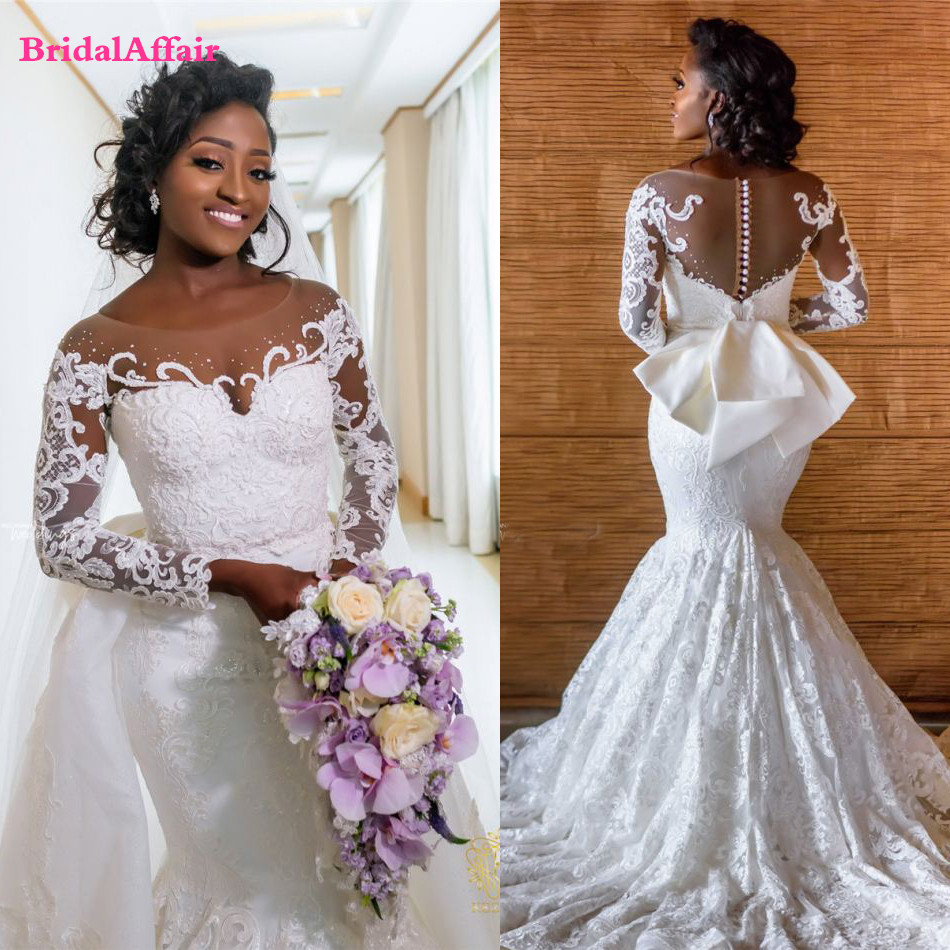 Mega Discount Ad75 Modest African Mermaid Lace Wedding Dress 2020 Vestido De Noiva Black Girl Women Wedding Gowns Long Sleeve Bride Dresses Ge Adhecajas Co,Steven Khalil Mermaid Wedding Dress