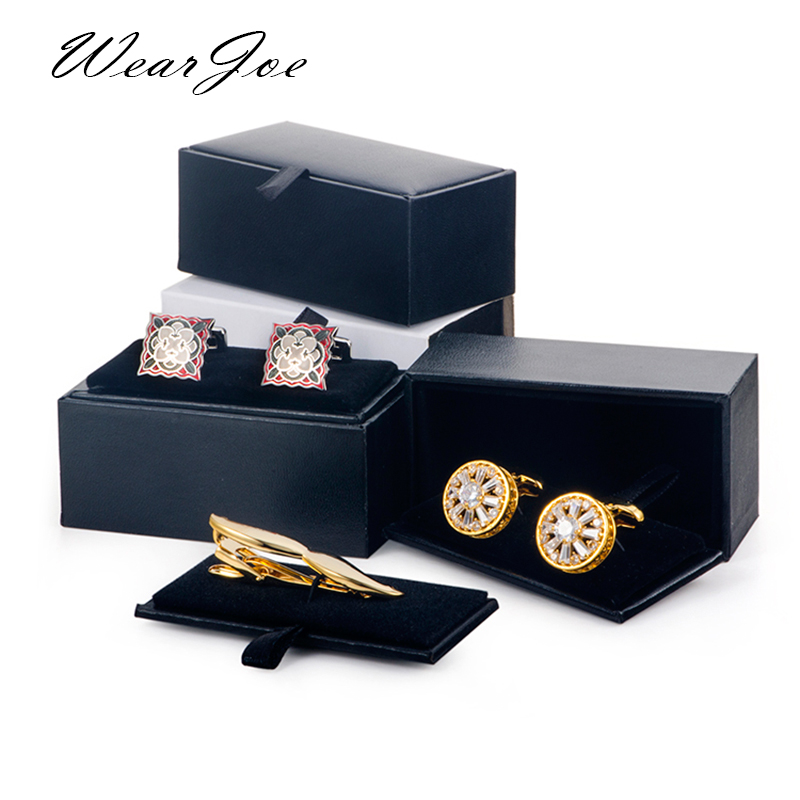 Men Cufflinks Storage Box Black Faux Leather Case Brooch Lapel Pin Hair Pins Gift Packaging Box Tie Tack Tie Clip Collection Box
