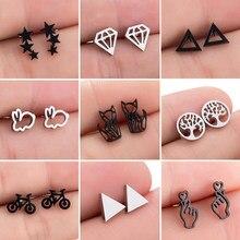 Geometryczne kolczyki ze stali nierdzewnej dla kobiet Punk Black Star kolczyki małe drzewo życia kolczyki do uszu biżuteria Pendients